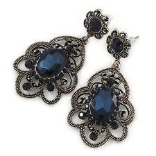 Stile Vittoriano filigrana Montana vetro blu, orecchini a goccia cristallo in antico si