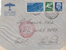 1935 REGNO AEROGRAMMA da ROMA x BRASILE + POSTA AEREA via MILANO + LUFTPOST