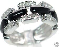 Joseph Esposito Diamonique Solid 925 Sterling Silver Onyx Ring Sz- 6 '