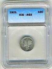 1921 10C Mercury Dime AG3