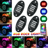 4x LED RGB Off-road Rock Lights bluetooth Music Control For Jeep Car Truck SUV