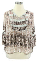 HAUTE HIPPIE TRIBE size XL beige reptile flare sleeve woven top w/lace trim