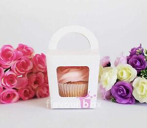 30x Single Cupcake Boxes (WHITE) - Baby Shower Favour Box Wedding Bomboniere
