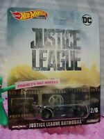 DC BATMAN JUSTICE LEAGUE BATMOBILE 2/6☆black;real riders☆2019 Hot Wheels Premium
