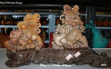 "22"" Natural Shoushan Stone Dragon Kylin Chi-Lin Qilin Unicorn Beast Statue Pair"