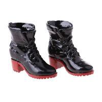 """1/6 Shoeslace Combat Boots Shoes for Female 12"""" Action Figure Dragon Black"""