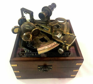 Kelvin n Hughes German Patters Nautical Sextant Antique Sextant with Wooden Box