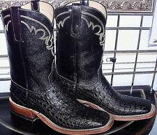 Anderson Bean Black Real Caiman Crocodile Alligator Square Toe Cowboy Boots 11 D