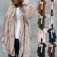 Winter Women Fleece Fur Jacket Outerwear Tops Warm Ladies Hooded Fluffy Coat