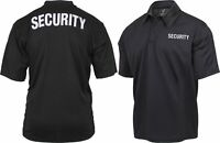 Black Moisture Wicking SECURITY Guard Officer Polo Golf Shirt Double Sided