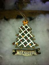 Rustic CHRISTMAS TREE with Banner Ornament (personalizable) NEW