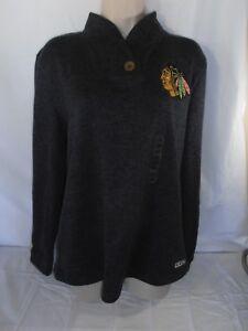 CCM NHL Women's Chicago Blackhawks gray pull over sweater/sweatshirt L NEW w/tag