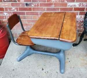 Vintage Child's School Desk Gray Cast Iron Light Oak Chair & Desk Top