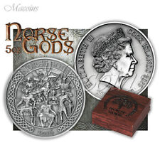 NORSE GODS 5 OZ EDITION 2016 COOK 65mm 999 SILVER COIN WITH ULTRA HIGH RELIEF