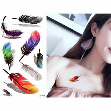 5 Pcs Water Tatto Sticker Temporary Feather Butterfly Low Waist Pattern Body Art