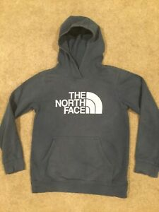 A3CPL The North Face Boys' Graphic Logo Hoodie Pullover Size L Blue/White