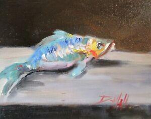 fish still life animal  8x10 oil Delilah