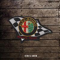 ALFA Romeo Automobiles Flag Logo Embroidered Iron On Sew On Patch Badge