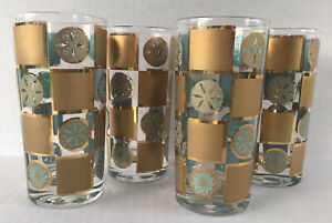 Vintage Culver Carnival Highball Cocktail Glass Tumblers Gold Blue Set Of 4 MCM