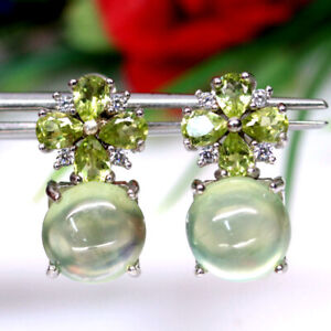 NATURAL 8 mm. GREEN PREHNITE, PERIDOT & CZ 925 STERLING SILVER EARRINGS