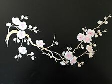 Sew on & iron on  patches(white & pink plum flower )