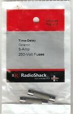 "RadioShack 3-AMP 250-Volt Time-Delay Ceramic1 1/4 X 1/4"" MDA  Fuses 270-0155"