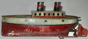 AMERICAN? IVES? TIN TOY STEAM BOAT MECHANICAL WINDUP c.1900