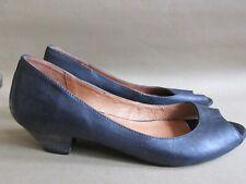 Office Slip On Peep Toe Leather Black Kitten Low Heels 37/ 4