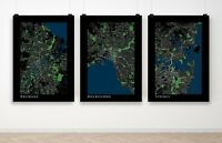 Set of 3 Australia City Maps Melbourne Sydney Brisbane Poster Art Print A3 A2 A1