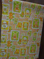 Vintage Wallpaper Roll Baby Nursery Retro Vinyl ABC Animal Yellow Orange Green