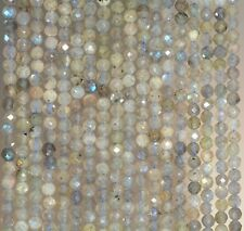 2MM  LABRADORITE GEMSTONE GRADE A MICRO FACETED ROUND LOOSE BEADS 15.5