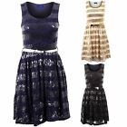 Women's Striped Sequin Metallic Belt Sleeveless Belted Ladies Skater Dress