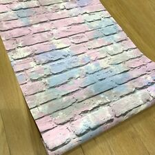 Silver Brick Wallpaper with Pink and Blue Graffiti Paint Effect by Muriva L33506