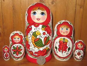 Severodvinsk North-Dvina style Babushka Russian HAND PAINTED MATT nesting doll 5