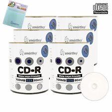 600 Smartbuy CD-R 52X White Inkjet Hub Printable Disc + FREE Micro Fiber Cloth