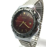 SLAVA Wristwatch Red Dial Men's Rare Vintage Russia Mechanical Collectible 1990s