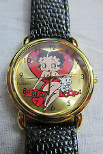 ORIGINAL Betty Boop Red Heart Wrist Watch Genuine Leather By Valdawn