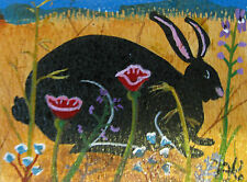 "A194  ORIGINAL ACRYLIC ACEO PAINTING BY LJH  ""RABBIT IN THE GARDEN"""