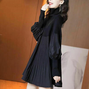Women Splice Pleated Loose Sweater Dress High Neck Lantern Long Sleeve Plus Size