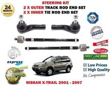 FOR NISSAN X TRAIL 2001-2007 2x OUTER + 2x INNER STEERING RACK TRACK TIE ROD END
