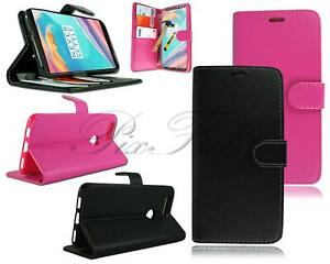 For OnePlus 5T New Genuine Leather Flip Wallet Phone Case Cover + Tempered Glass