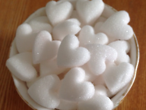 100 WHITE HEART SHAPED SUGAR CUBES FOR  WEDDINGS, ALL CELEBRATIONS AND OCCASIONS