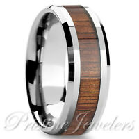 Silver Tungsten Hawaiian Koa Wood Inlay Engagement Wedding Band Men Jewelry Ring