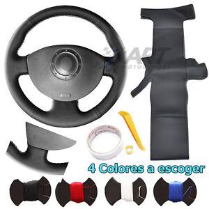 Funda de volante a medida para Renault Megane Kangoo Scenic en cuero negro
