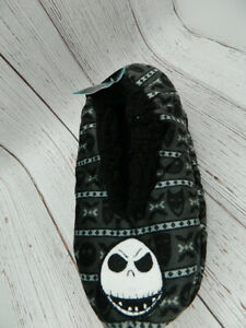 Nightmare Before Christmas Fuzzy Babba Slipper Socks Jack Skellington Black NEW