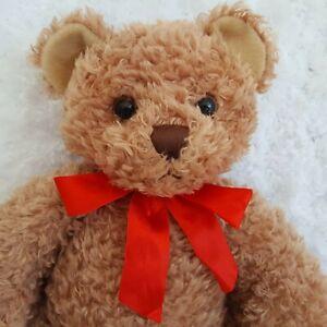 "First & Main TUCKER 13"" Stuffed Plush Brown Teddy Bear Red Bow #1715 Soft Cuddly"