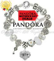 PANDORA BRACELET SILVER 925 ALE WITH WHITE MOM CRYSTAL HEART EUROPEAN CHARMS New