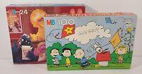 Vintage MB Puzzle Lot Peanuts Charlie Brown 100 Piece Sesame Street 24 Piece