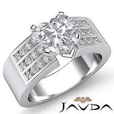 Heart Shape Diamond Channel Set Engagement Ring GIA G VS2 14k White Gold 1.31 ct