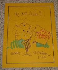 "HANK KETCHAM NICE!! SIGNED ORIGINAL HAND DRAWN 8x11 SKETCH ""DENNIS THE MENACE"""